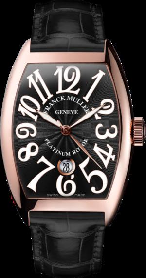 Damenuhr Franck Muller Cintrée Curvex Automatik Datum mit schwarzem Zifferblatt und Alligatorenleder-Armband