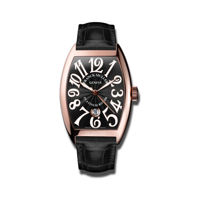 Damenuhr Franck Muller Cintrée Curvex Automatik Datum mit schwarzem Zifferblatt und Alligatorenleder-Armband bei Brogle