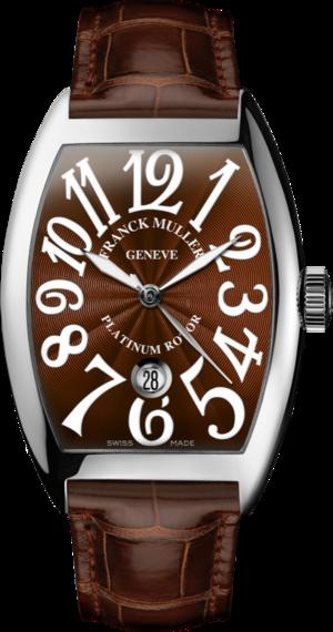 Herrenuhr Franck Muller Cintrée Curvex Automatik Datum mit braunem Zifferblatt und Alligatorenleder-Armband