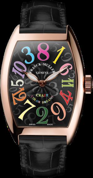 Armbanduhr Franck Muller Crazy Hours mit schwarzem Zifferblatt und Alligatorenleder-Armband