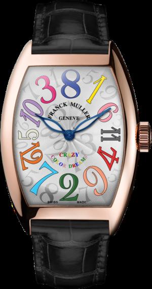 Armbanduhr Franck Muller Crazy Hours mit weißem Zifferblatt und Alligatorenleder-Armband