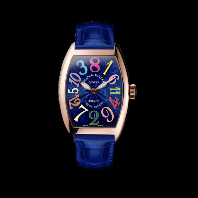 Armbanduhr Franck Muller Crazy Hours mit blauem Zifferblatt und Alligatorenleder-Armband bei Brogle