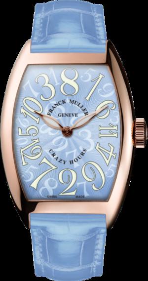 Armbanduhr Franck Muller Crazy Hours mit blauem Zifferblatt und Alligatorenleder-Armband