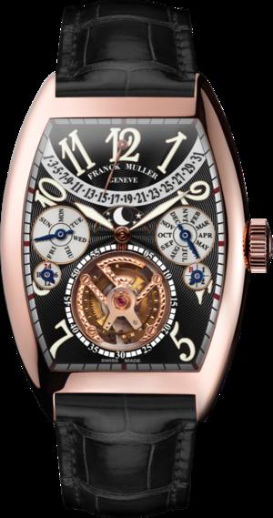 Armbanduhr Franck Muller Cintrée Curvex Handaufzug mit schwarzem Zifferblatt und Alligatorenleder-Armband
