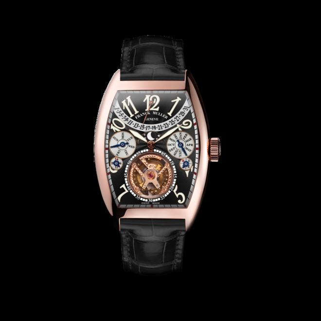 Armbanduhr Franck Muller Cintrée Curvex Handaufzug mit schwarzem Zifferblatt und Alligatorenleder-Armband bei Brogle