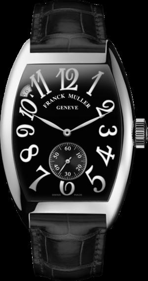 Herrenuhr Franck Muller Cintrée Curvex kleine Sekunde mit schwarzem Zifferblatt und Alligatorenleder-Armband