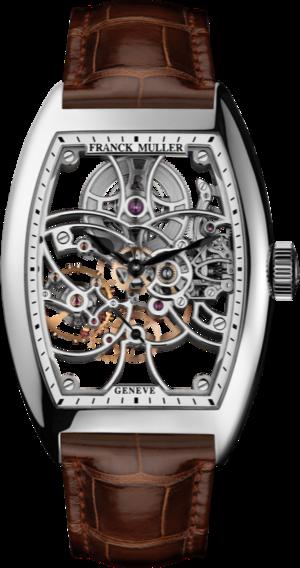 Herrenuhr Franck Muller Cintrée Curvex kleine Sekunde mit weißem Zifferblatt und Alligatorenleder-Armband