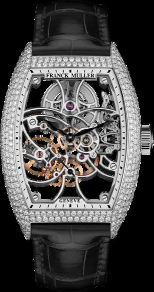 Herrenuhr Franck Muller Cintrée Curvex kleine Sekunde mit Diamanten, weißem Zifferblatt und Alligatorenleder-Armband