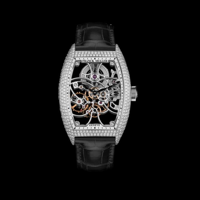 Herrenuhr Franck Muller Cintrée Curvex kleine Sekunde mit Diamanten, weißem Zifferblatt und Alligatorenleder-Armband bei Brogle