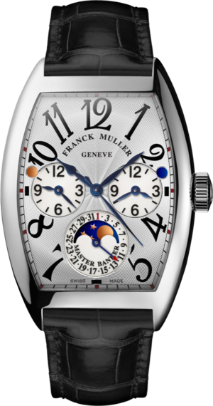 Herrenuhr Franck Muller Master Banker Mondphase mit silberfarbenem Zifferblatt und Alligatorenleder-Armband