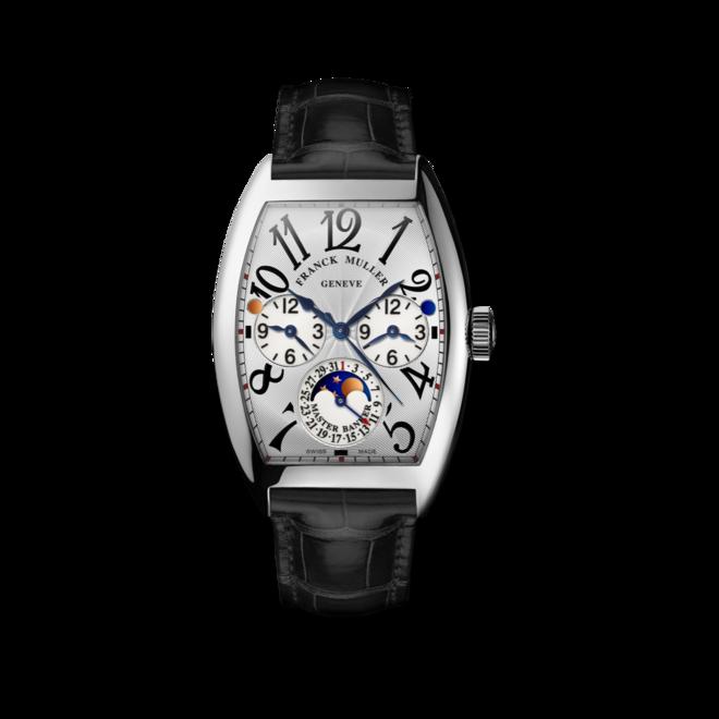 Armbanduhr Franck Muller Master Banker Mondphase mit silberfarbenem Zifferblatt und Alligatorenleder-Armband bei Brogle