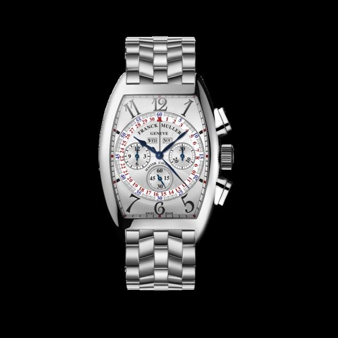 Armbanduhr Franck Muller Cintrée Curvex Master Calendar Chronograph mit weißem Zifferblatt und Edelstahlarmband bei Brogle