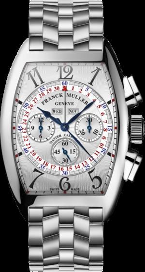 Armbanduhr Franck Muller Cintrée Curvex Master Calendar Chronograph mit weißem Zifferblatt und Edelstahlarmband