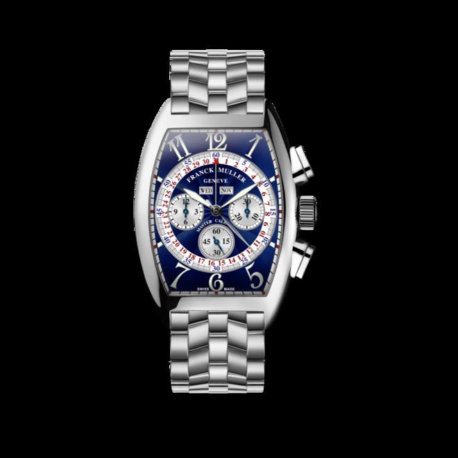 Armbanduhr Franck Muller Cintrée Curvex Master Calendar Chronograph mit blauem Zifferblatt und Edelstahlarmband bei Brogle
