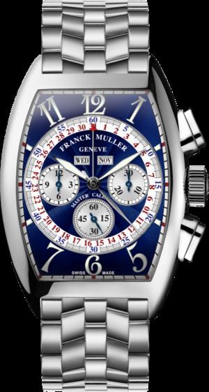 Armbanduhr Franck Muller Cintrée Curvex Master Calendar Chronograph mit blauem Zifferblatt und Edelstahlarmband