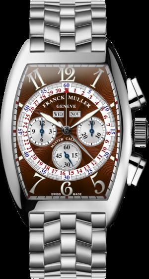 Armbanduhr Franck Muller Cintrée Curvex Master Calendar Chronograph mit braunem Zifferblatt und Edelstahlarmband