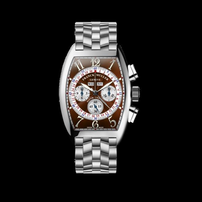 Armbanduhr Franck Muller Cintrée Curvex Master Calendar Chronograph mit braunem Zifferblatt und Edelstahlarmband bei Brogle