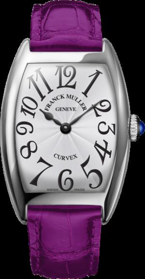 Damenuhr Franck Muller Cintrée Curvex Quartz mit weißem Zifferblatt und Alligatorenleder-Armband
