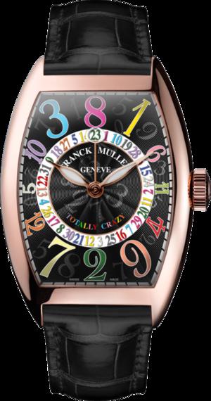 Armbanduhr Franck Muller Totally Crazy Hours mit schwarzem Zifferblatt und Alligatorenleder-Armband