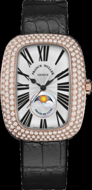 Armbanduhr Franck Muller Galet Moonphase mit Diamanten, silberfarbenem Zifferblatt und Alligatorenleder-Armband