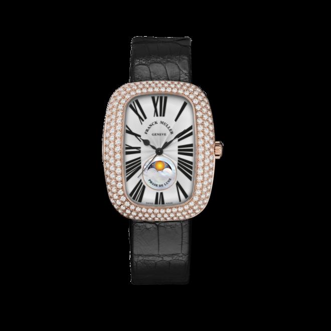 Armbanduhr Franck Muller Galet Moonphase mit Diamanten, silberfarbenem Zifferblatt und Alligatorenleder-Armband bei Brogle