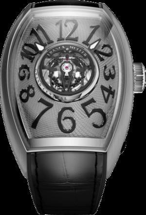 Herrenuhr Franck Muller Grand Central Cintree Curvex mit grauem Zifferblatt und Alligatorenleder-Armband
