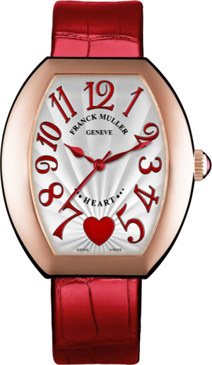 Damenuhr Franck Muller Heart Automatik mit weißem Zifferblatt und Alligatorenleder-Armband