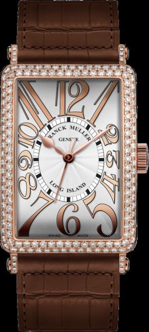Damenuhr Franck Muller Long Island Automatik 23 x 40,2 x 9mm mit Diamanten, weißem Zifferblatt und Alligatorenleder-Armband