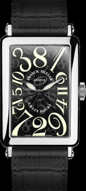 Herrenuhr Franck Muller Crazy Hours mit schwarzem Zifferblatt und Alligatorenleder-Armband