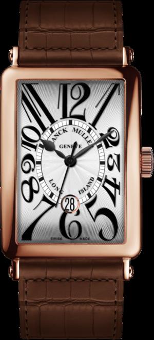 Armbanduhr Franck Muller Long Island Date mit weißem Zifferblatt und Alligatorenleder-Armband