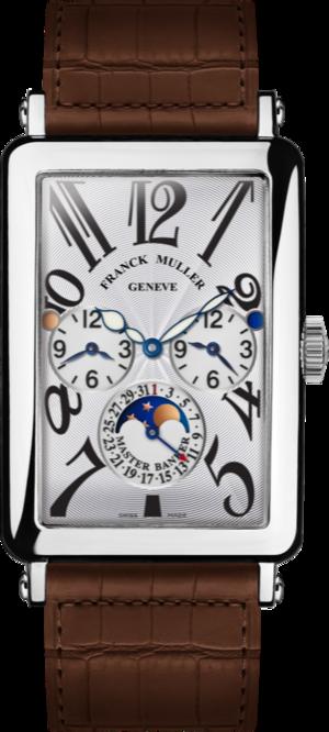 Herrenuhr Franck Muller Master Banker mit weißem Zifferblatt und Alligatorenleder-Armband
