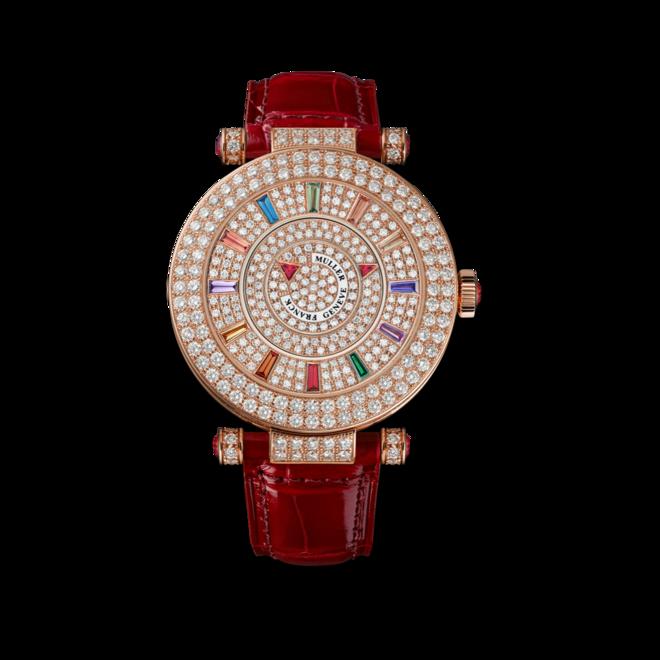 Damenuhr Franck Muller Double Mystery mit Diamanten, roségoldfarbenem Zifferblatt und Alligatorenleder-Armband bei Brogle