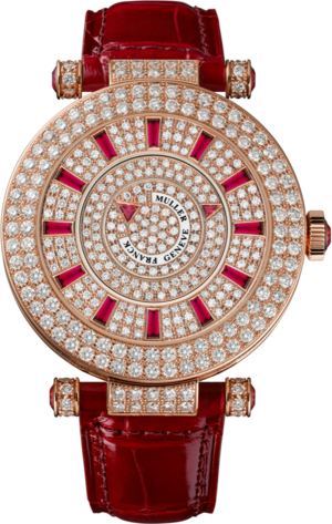 Damenuhr Franck Muller Double Mystery mit Diamanten, roségoldfarbenem Zifferblatt und Alligatorenleder-Armband