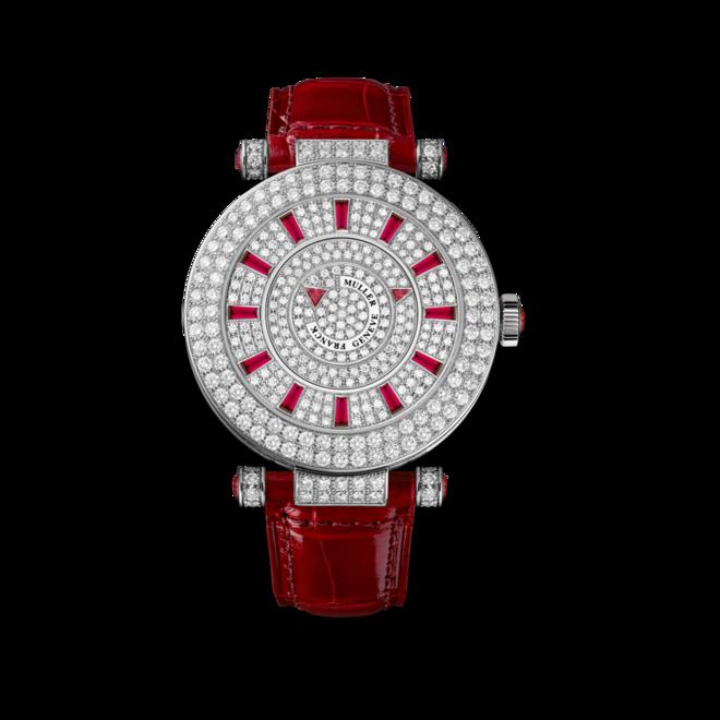 Damenuhr Franck Muller Double Mystery mit Diamanten, silberfarbenem Zifferblatt und Alligatorenleder-Armband bei Brogle