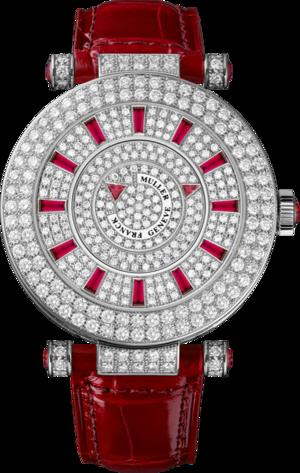 Damenuhr Franck Muller Double Mystery mit Diamanten, silberfarbenem Zifferblatt und Alligatorenleder-Armband