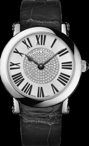 Damenuhr Franck Muller Round Quarz mit Diamanten, weißem Zifferblatt und Alligatorenleder-Armband