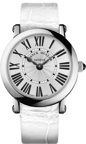 Damenuhr Franck Muller Round Quarz mit weißem Zifferblatt und Alligatorenleder-Armband