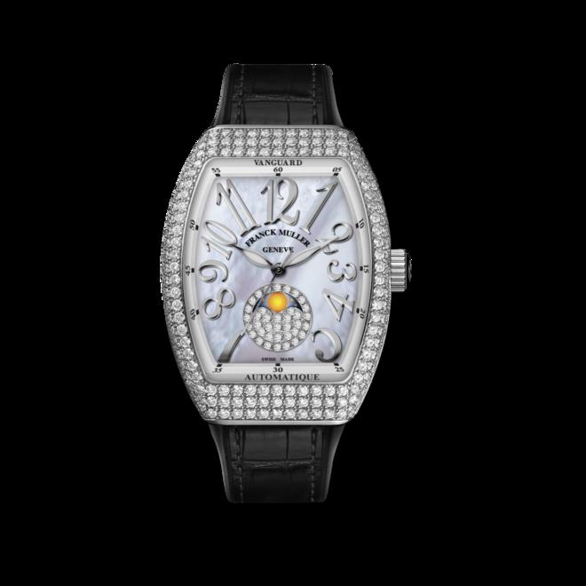 Damenuhr Franck Muller Vanguard Automatik 32 x 42,3 x 10,8mm mit Diamanten, perlmuttfarbenem Zifferblatt und Alligatorenleder-Armband bei Brogle