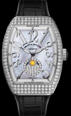 Damenuhr Franck Muller Vanguard Automatik 32 x 42,3 x 10,8mm mit Diamanten, perlmuttfarbenem Zifferblatt und Alligatorenleder-Armband