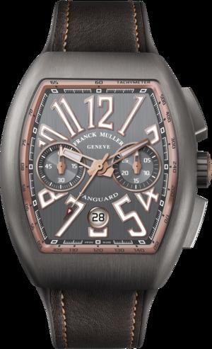 Herrenuhr Franck Muller Vanguard Automatik Chronograph 44 x 53,7 x 15,1mm mit grauem Zifferblatt und Alligatorenleder-Armband