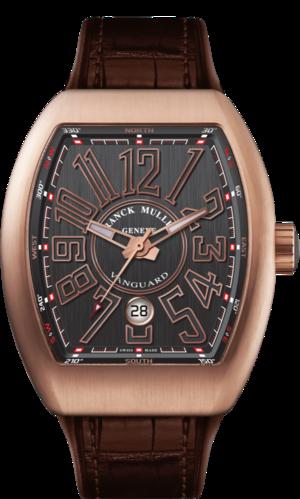 Herrenuhr Franck Muller Vanguard Automatik Datum mit titanfarbenem Zifferblatt und Alligatorenleder-Armband