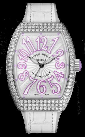Damenuhr Franck Muller Vanguard Automatik mit Diamanten, weißem Zifferblatt und Alligatorenleder-Armband