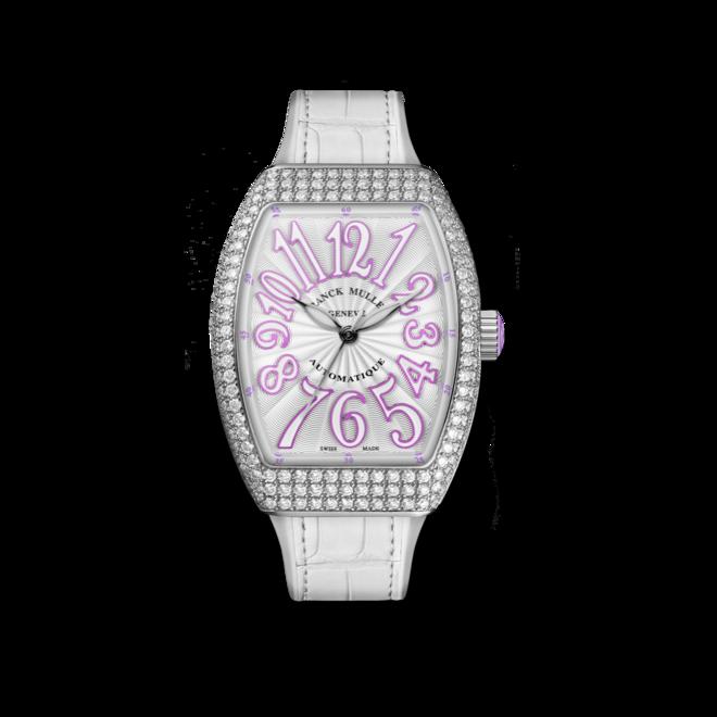 Damenuhr Franck Muller Vanguard Automatik mit Diamanten, weißem Zifferblatt und Alligatorenleder-Armband bei Brogle