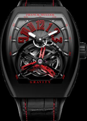 Herrenuhr Franck Muller Vanguard Gravity mit schwarzem Zifferblatt und Alligatorenleder-Armband