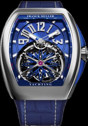 Herrenuhr Franck Muller Vanguard Gravity Yachting mit blauem Zifferblatt und Alligatorenleder-Armband