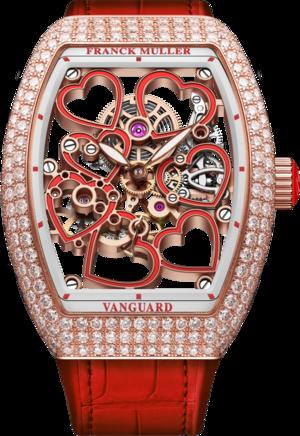 Damenuhr Franck Muller Vanguard Heart Skeleton mit mehrfarbigem Zifferblatt und Alligatorenleder-Armband