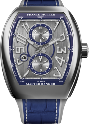 Herrenuhr Franck Muller Master Banker 3 Zeitzonen mit zweifarbigem Zifferblatt und Alligatorenleder-Armband