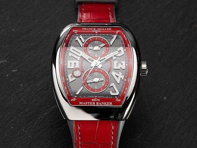 Herrenuhr Franck Muller Master Banker 3 Zeitzonen mit zweifarbigem Zifferblatt und Alligatorenleder-Armband bei Brogle