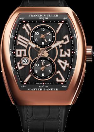 Herrenuhr Franck Muller Master Banker 3 Zeitzonen mit schwarzem Zifferblatt und Alligatorenleder-Armband