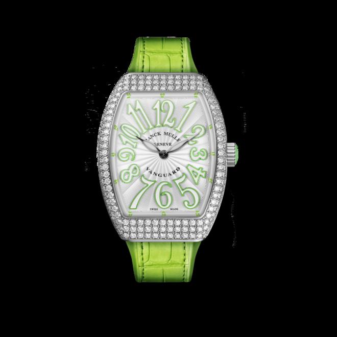 Damenuhr Franck Muller Vanguard Quartz mit Diamanten, silberfarbenem Zifferblatt und Alligatorenleder-Armband bei Brogle